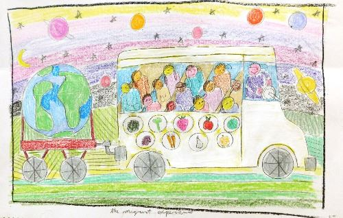 many cultures represented on a bus mural design