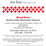 Flyer with all information for the Blood Drive