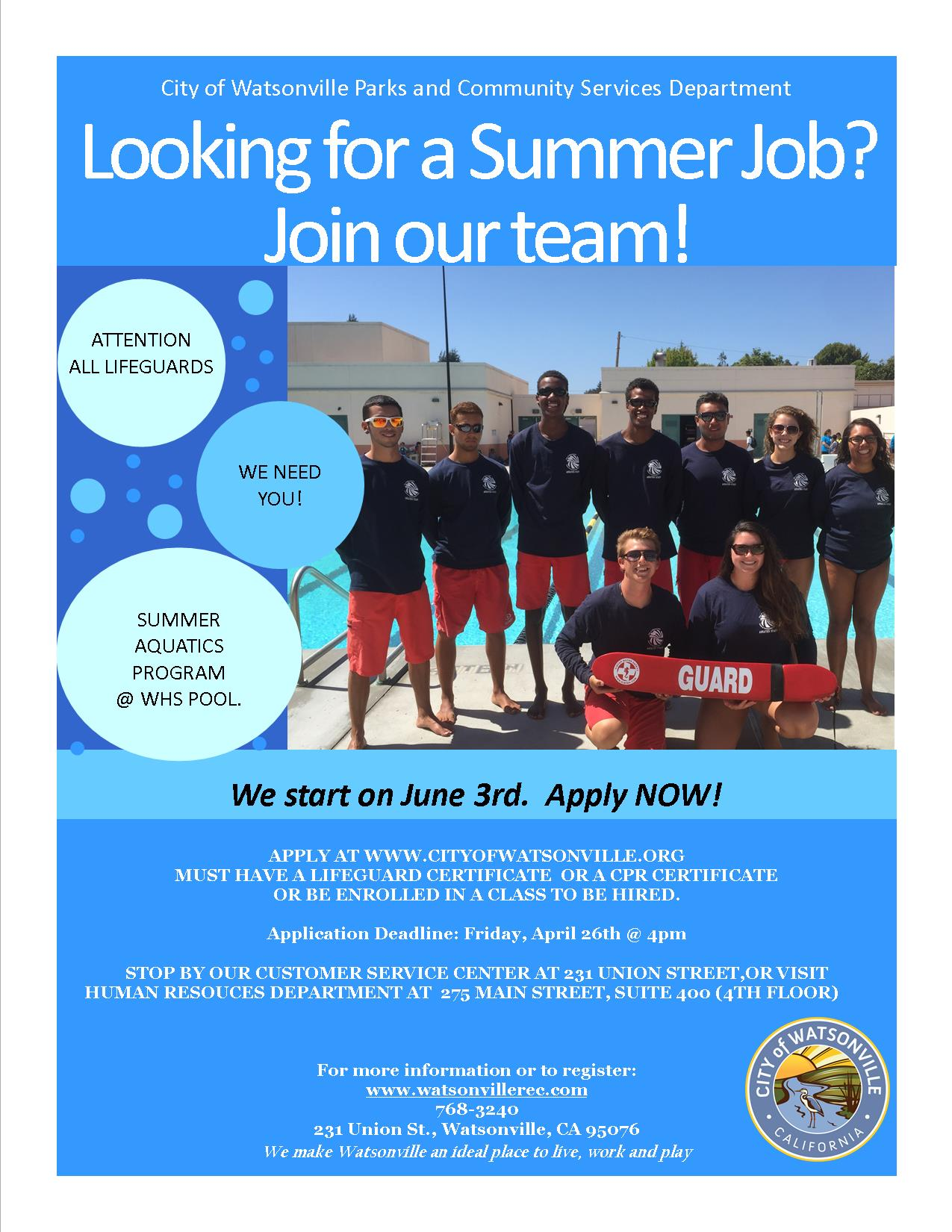 lifeguard jobs watsonville pool
