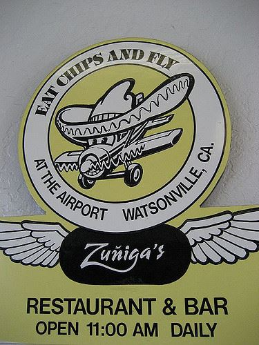 Eat Chips and Fly Zuniga's Restaurant Sign