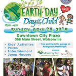 Flyer with information on Earth Day/Day of the Child. Photos of participants at 2018 event