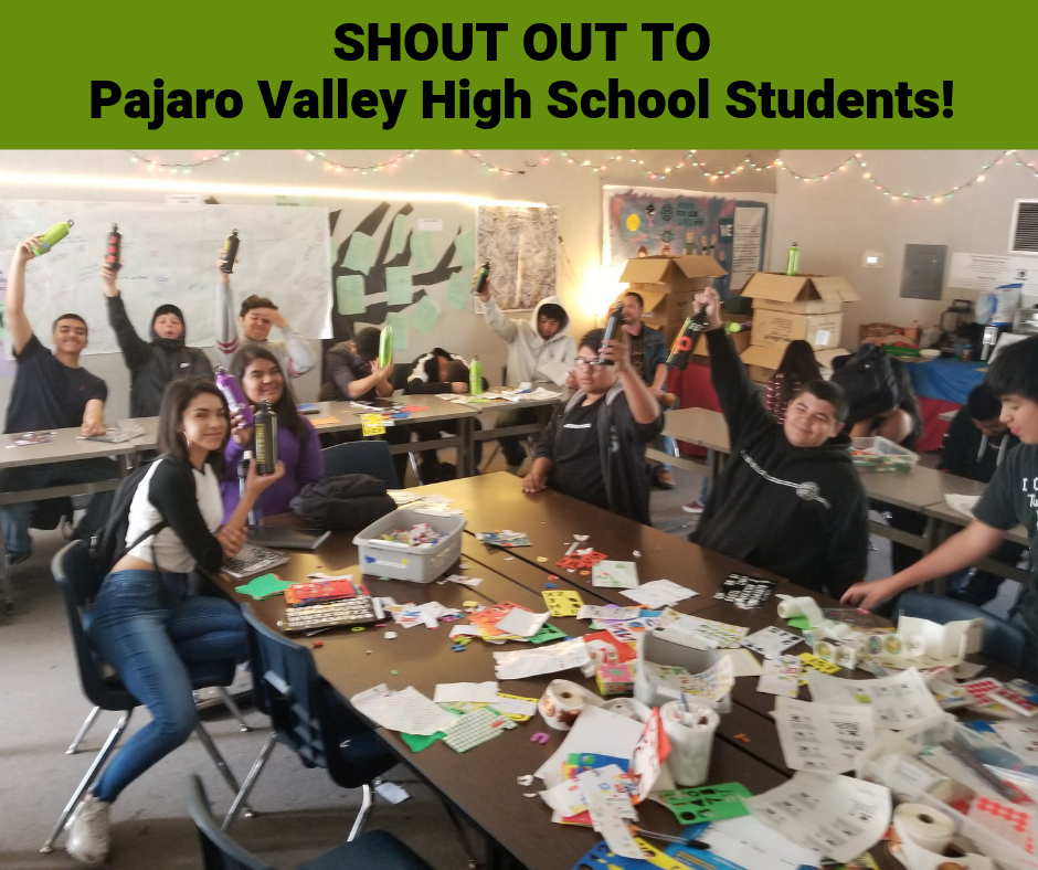students at Pajaro Valley High School holding up their reusable water bottle