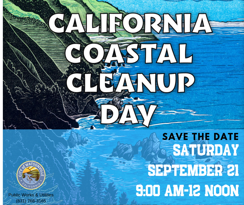 the ocean with rocks and announcing coastal cleanup date as september 21 2019