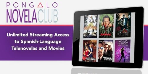 A image of tablet with movie choices in spanish and with text Pongalo Telenovela Club
