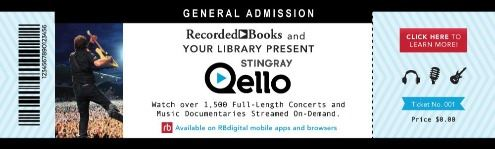 Concert ticket with information about the Stingray Qello Service for concerts and documentaries