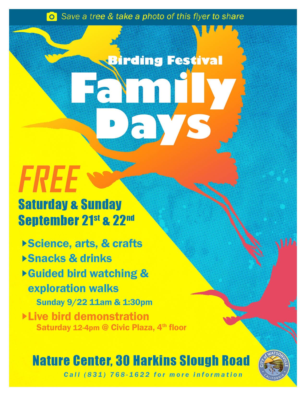 Flier with all information for the Family Days event happening on 9/21 & 9/22