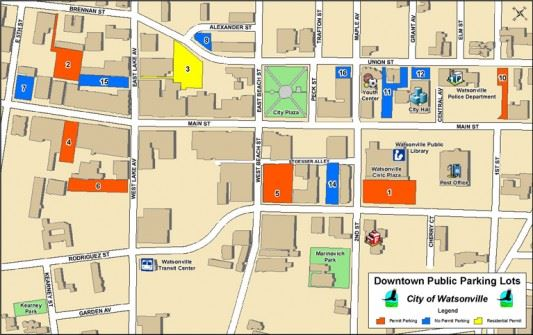Downtown Parking Lots Map