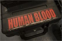 Brief Case with the Words Human Blood