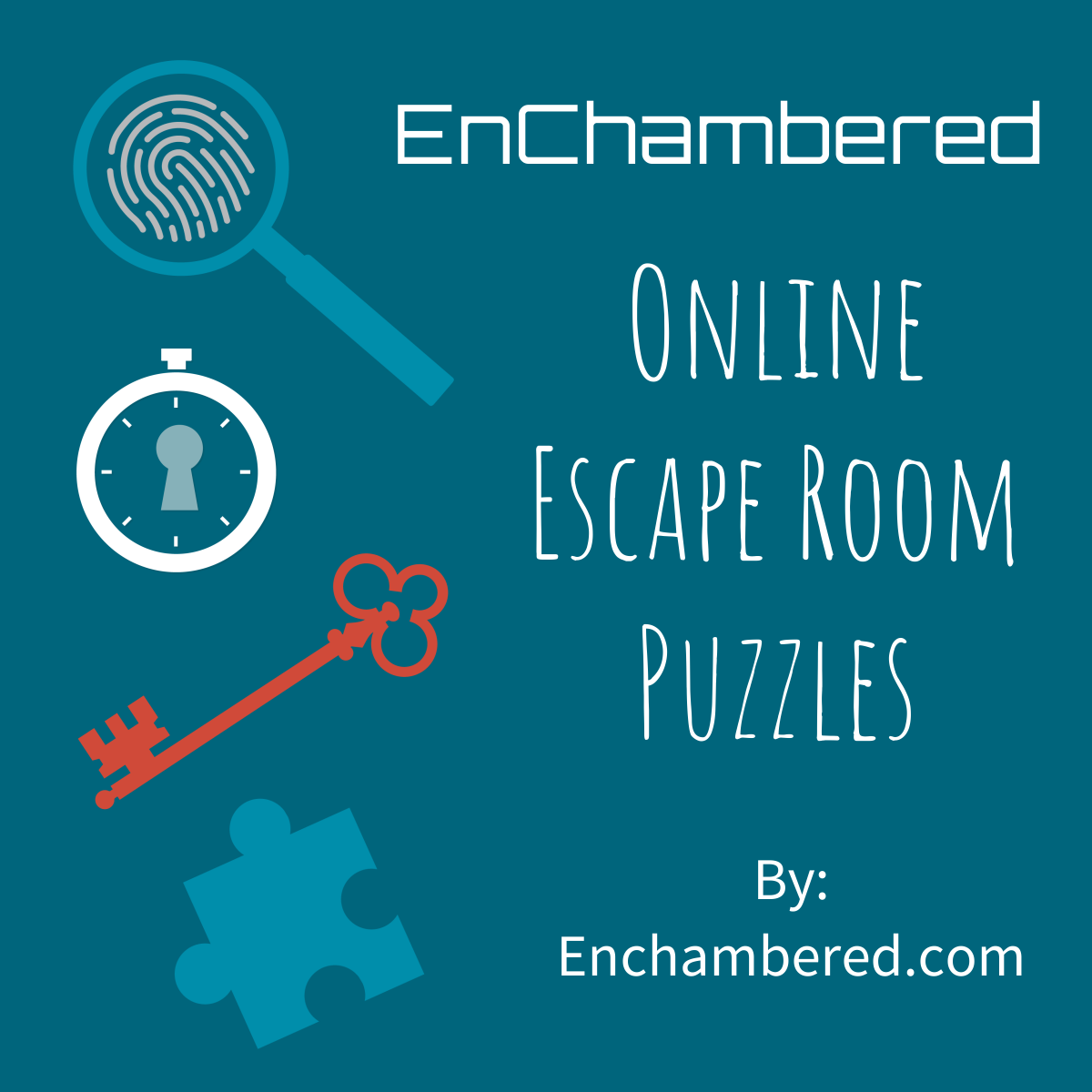 spyglass, fingerprint, clock, keyhole, puzzle piece and text enchambered online escape room puzzles