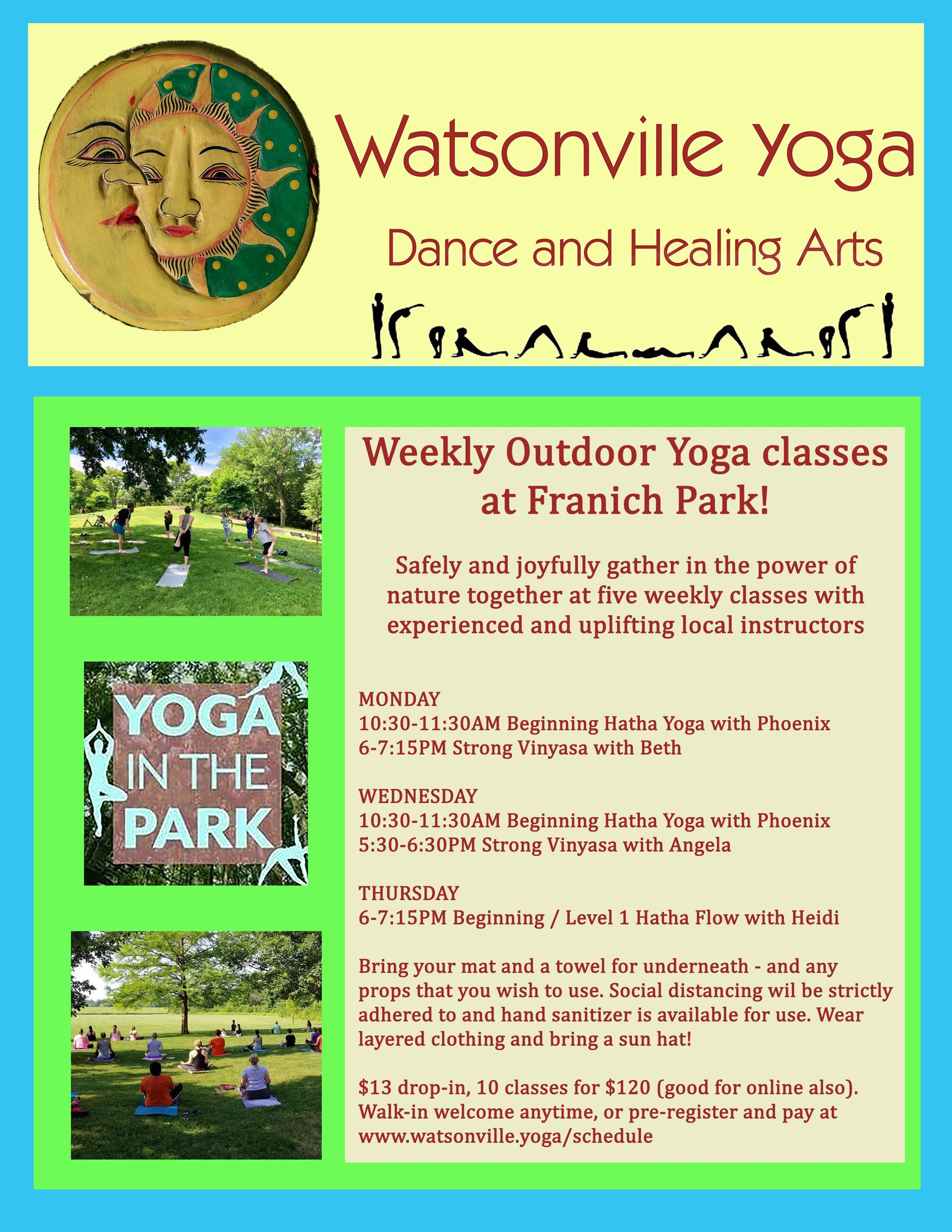 Watsonville Yoga in the Park 2020 Summer