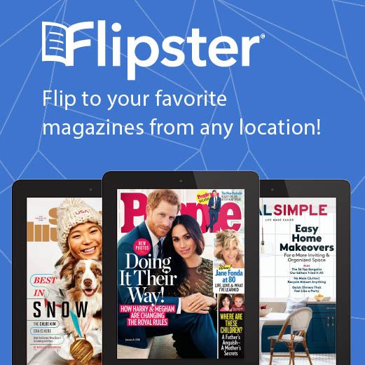 "covers of three magazines on digital devices and the text ""Flipster"""