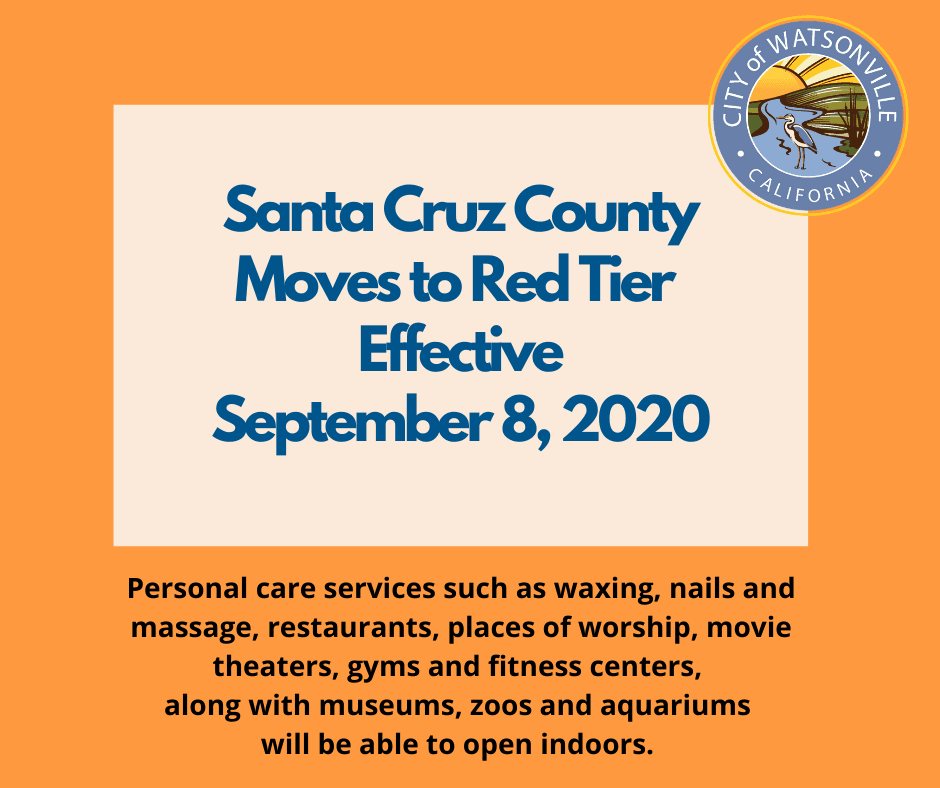 Santa Cruz County Moves to Red Tier