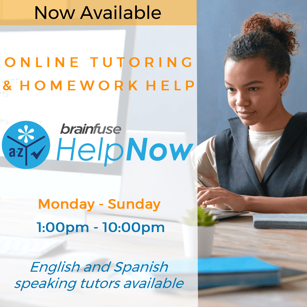 free online tutoring and homework help available through brainfuse help now service
