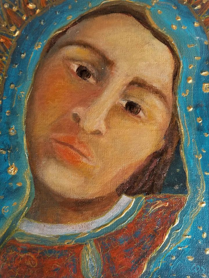 painting of a saint (unknown which) in covered head scarf