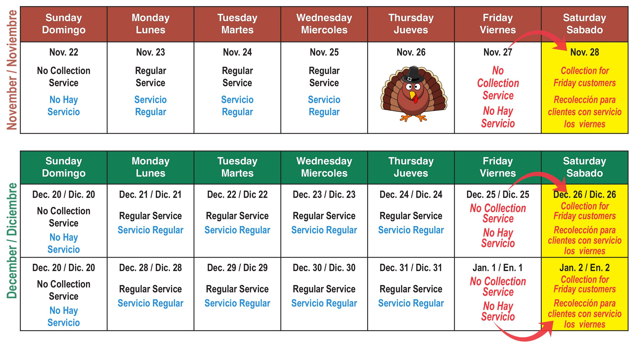 Solid waste holiday schedule