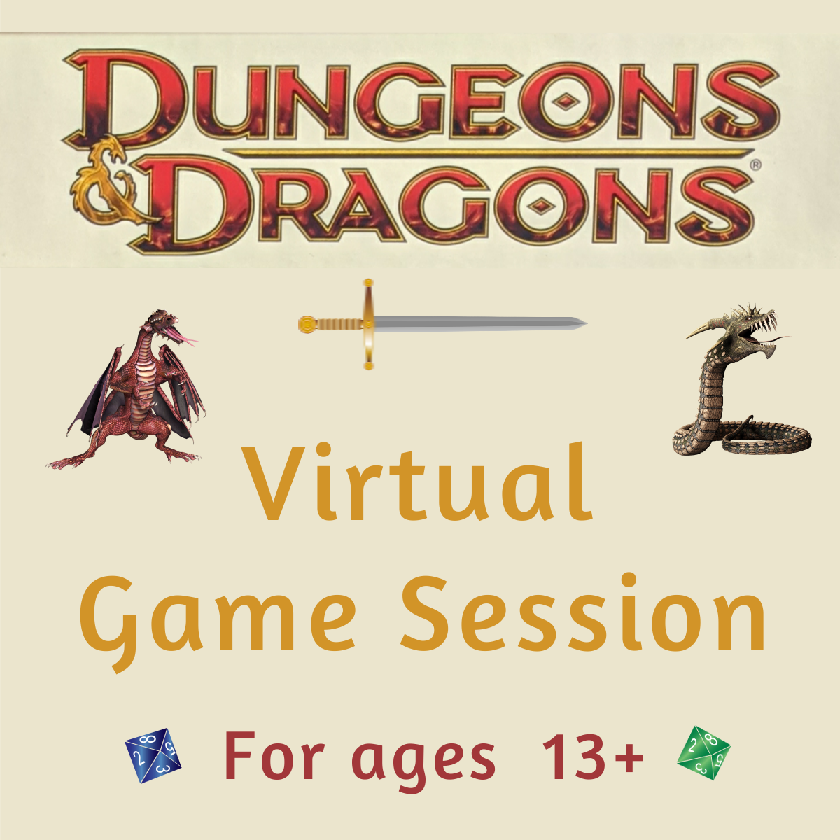 Dungeons and Dragons Virtual Game Session for ages 13+ with Logo and dragons and dice