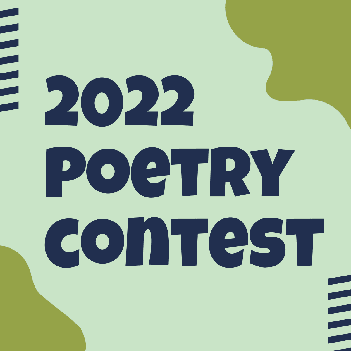 leaves on patterned background with text 2021 poetry contest