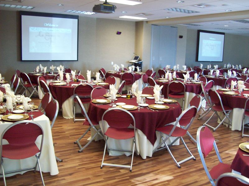 The Civic Plaza Community Room decorated for an event.