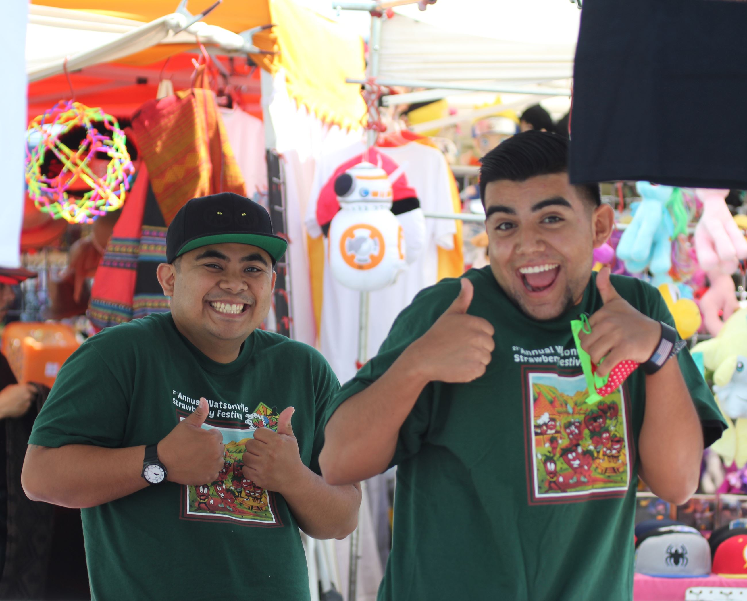 Strawberry Festival participants giving a thumbs up