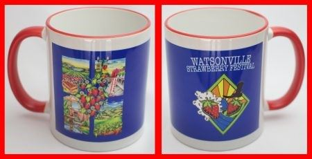 Ceramic mugs with Strawberry Festival graphics