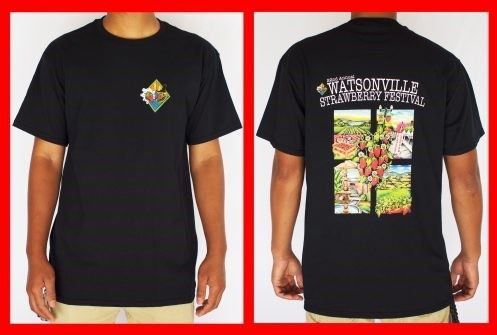Front and back view of black t-shirt with Strawberry Festival images