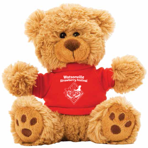 Teddy bear with red Strawberry Festival t-shirt on