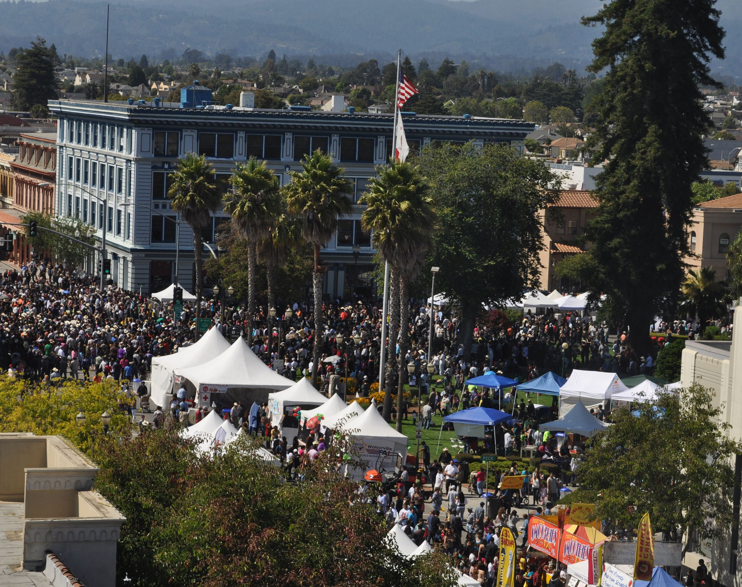 Photo of an event with a large crowd of people and tented booth areas