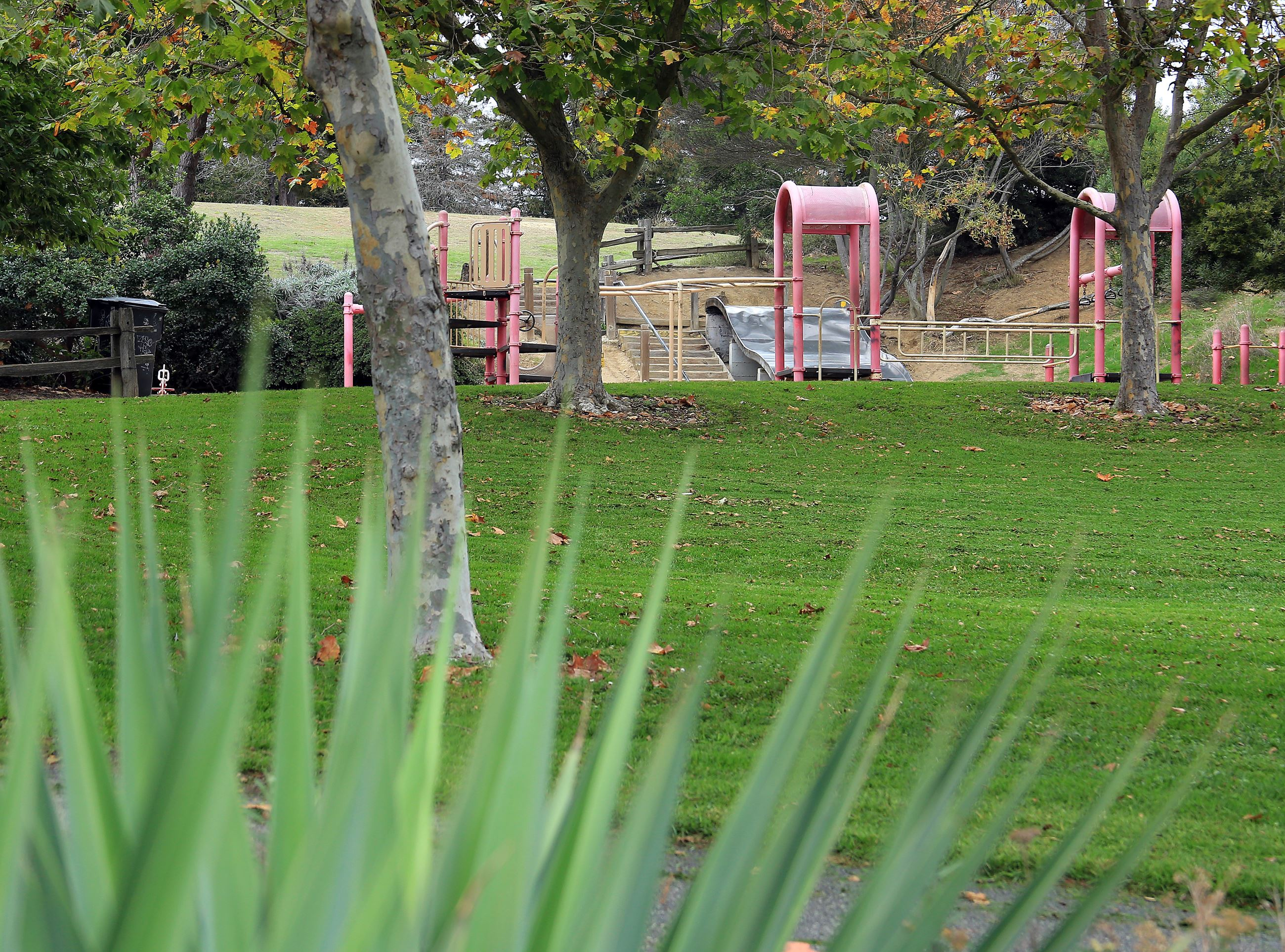 Playground structure and greenspace at Ramsay park