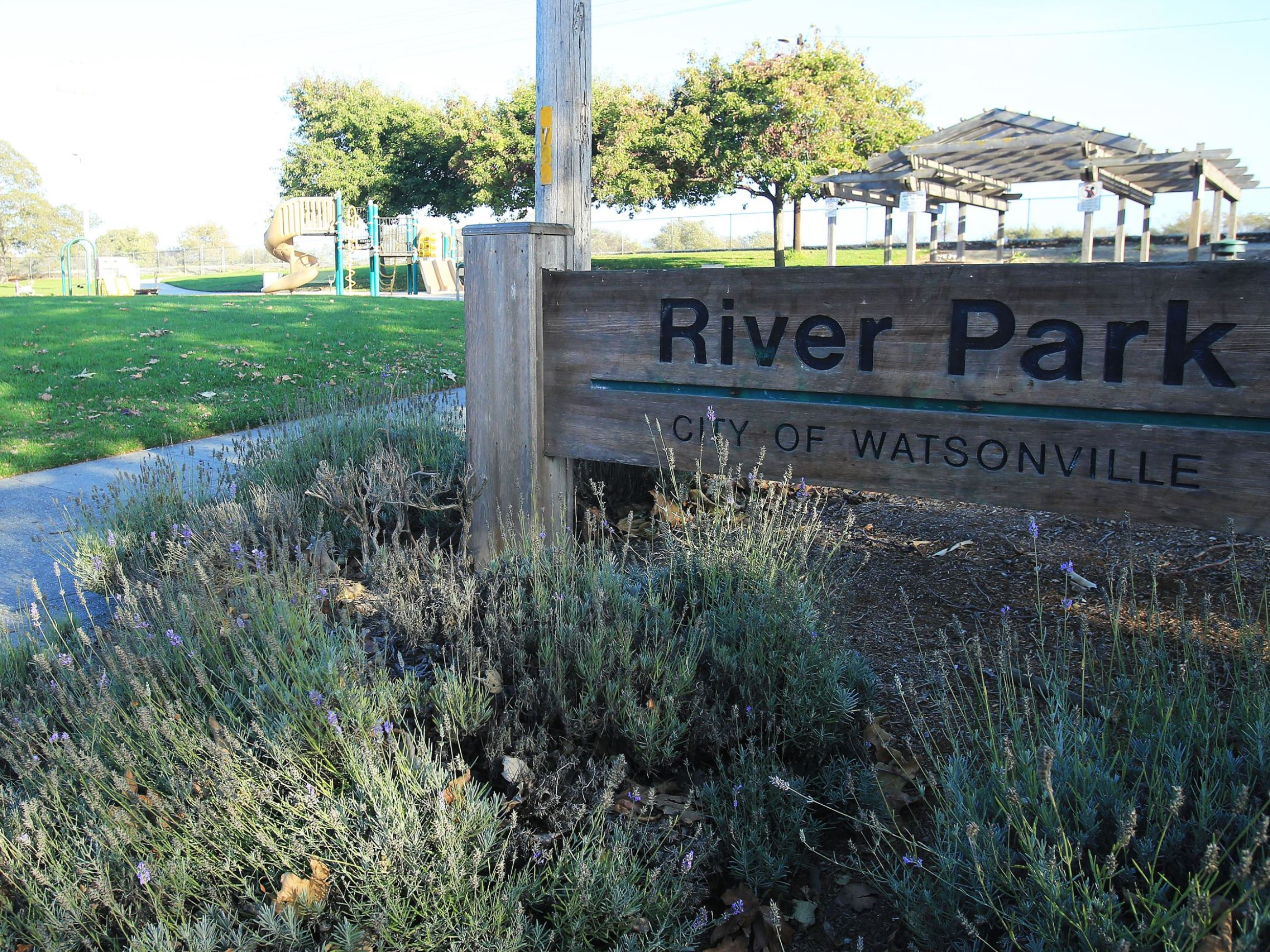River Park wooden sign
