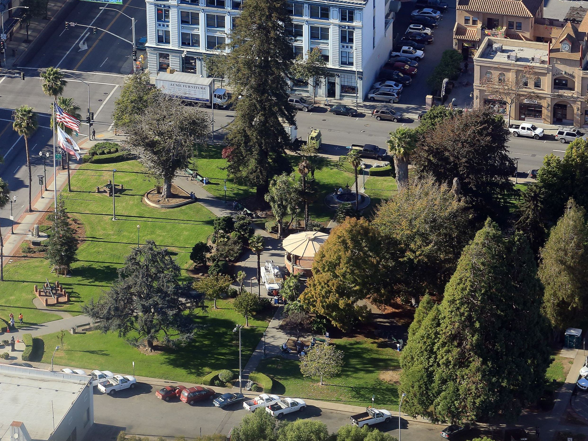 Aerial view of plaza park