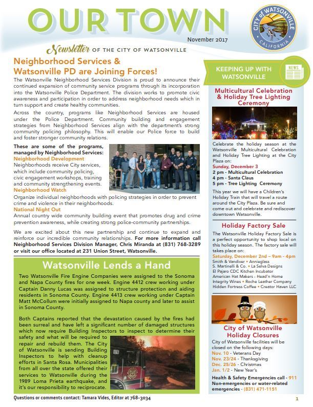 Our Town Newsletter - Nov 2017