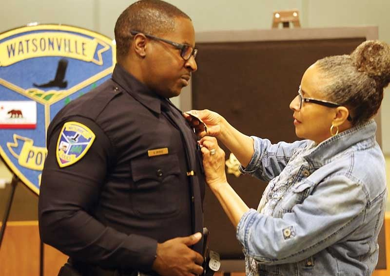 Officer Andre Burke pinning ceremony