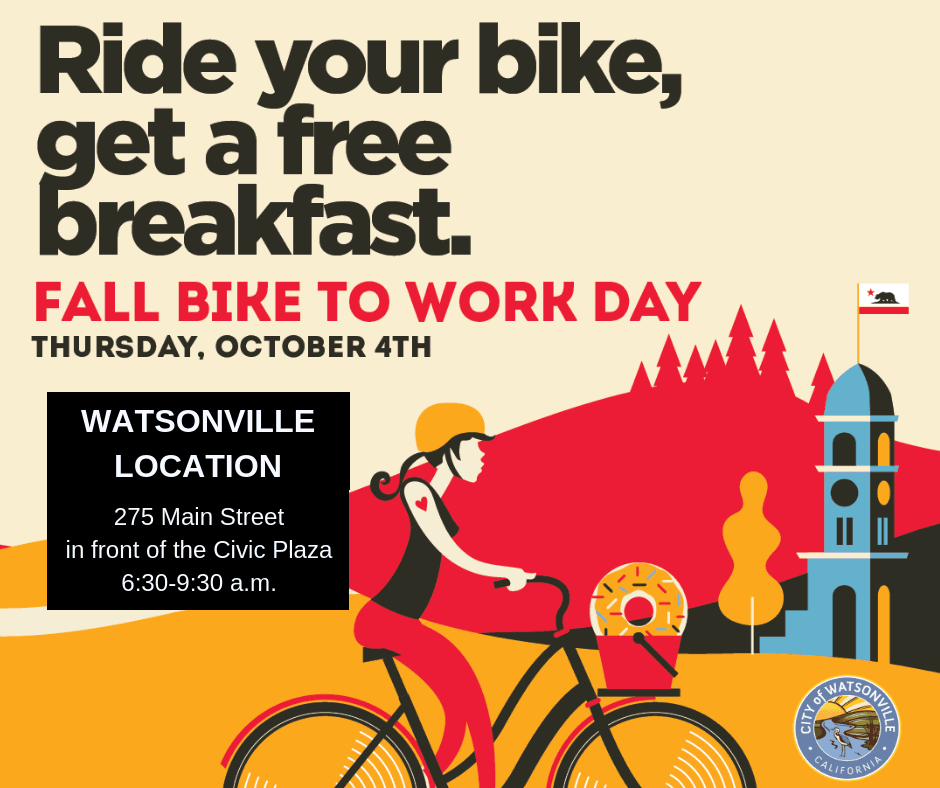 Bike to work 2018 poster - girl riding a bike
