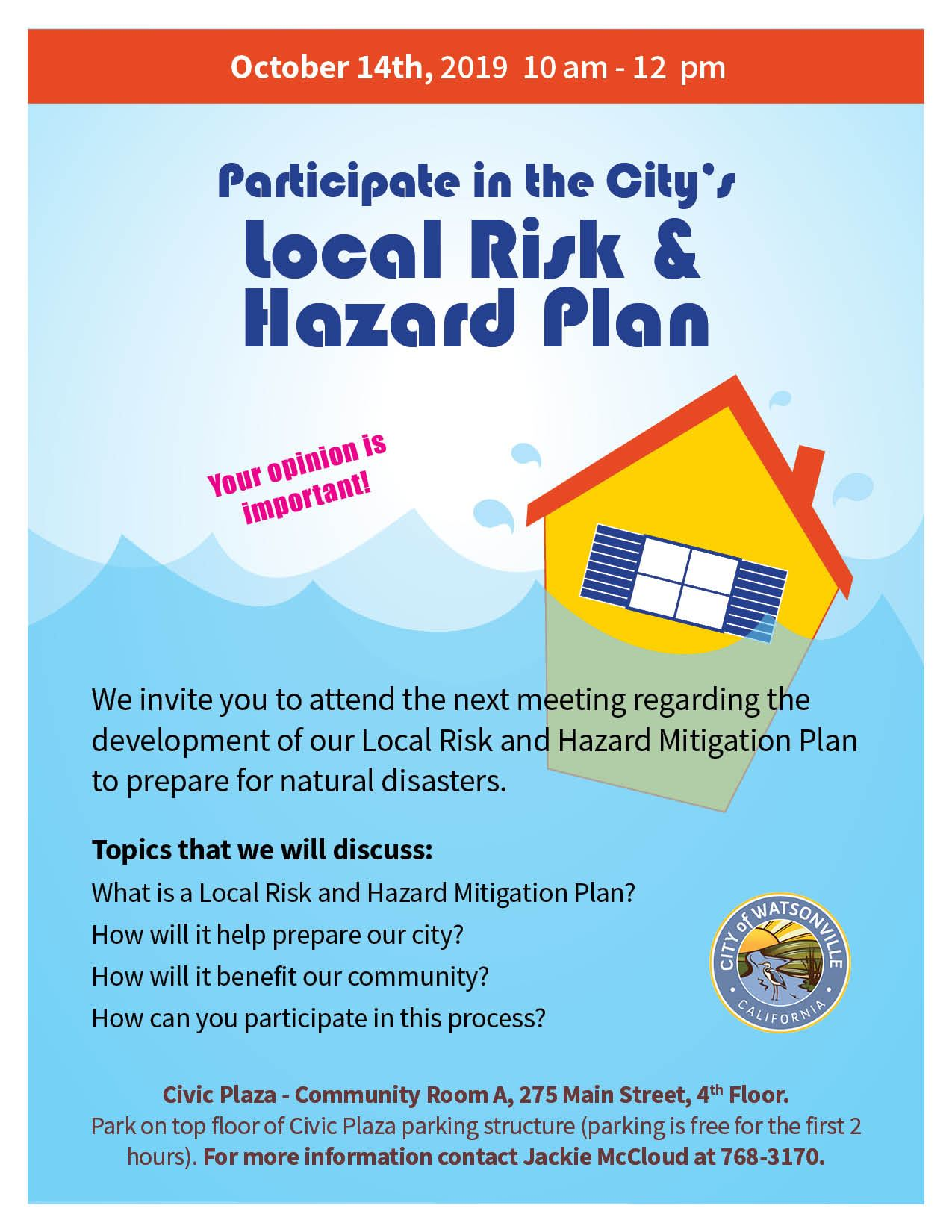 Local Risk & Hazard Plan - Public Meeting October 14th